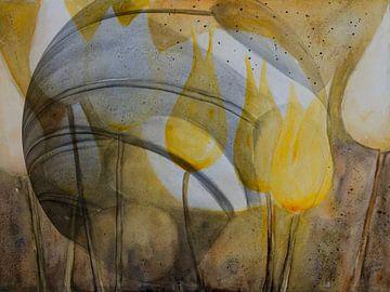 Gele tulpen - abstract van Christine Nöhmeier