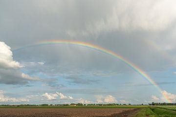 Mijn prachtige achtertuin | regenboog | Hollandse luchten van Mariska Scholtens