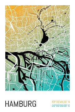 Hamburg – City Map Design Stadtplan Karte (Farbverlauf) von ViaMapia