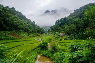 Bergdorpje in Pu Luong, Vietnam, Azië
