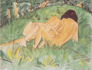 Zwei weibliche Akte auf einer Waldwiese, Otto Mueller - 1923 von Atelier Liesjes
