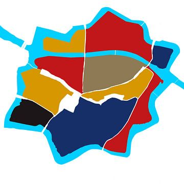 Zentrum Zwolle in Style, rot, gelb und blau von Walter Frisart