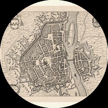 Plattegrond van Maastricht van anno ca 1700, met wit kader. van Gert Hilbink