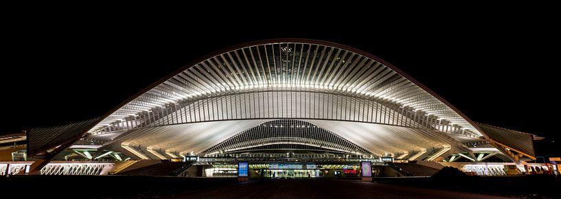 Panorama by Night van de entree van Station in Luik van Photography by Karim