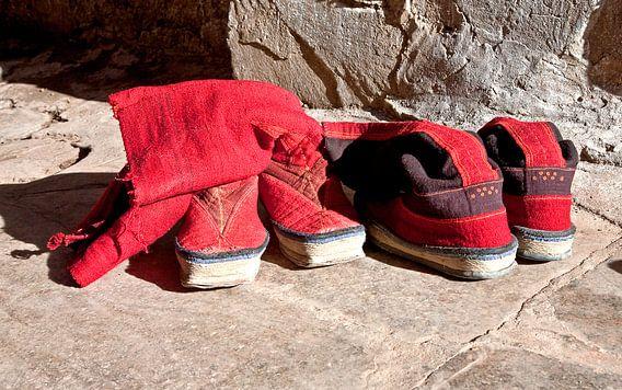 Traditionele schoenen van monikken van in Tibet