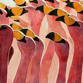 Groep flamingo's van Natalie Bruns