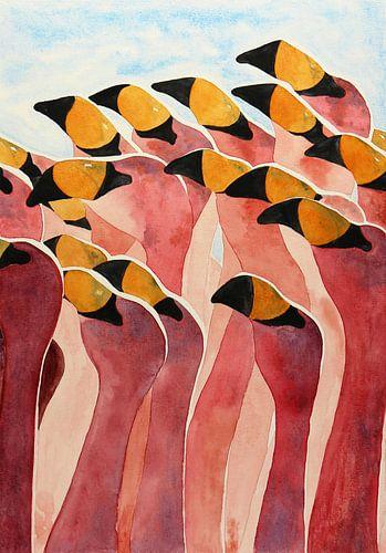 Groupe de flamants roses sur Natalie Bruns