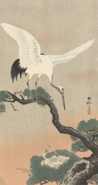 Japanischer Kranich auf dem Ast der Kiefer von Ohara Koson von Gave Meesters