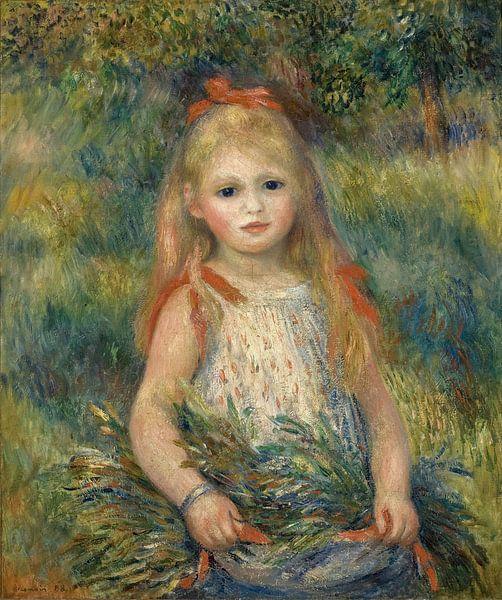 Mädchen mit Blumen, Pierre-Auguste Renoir von Meesterlijcke Meesters