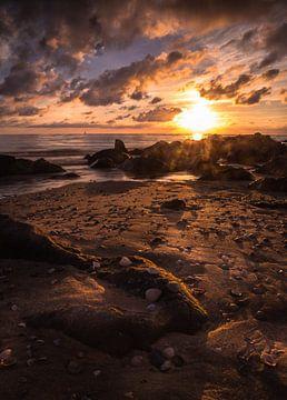 Zonsondergang strand cocksdorp van Martijn van Steenbergen