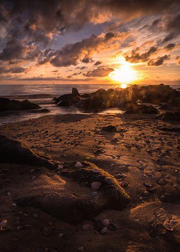 Zonsondergang strand cocksdorp van