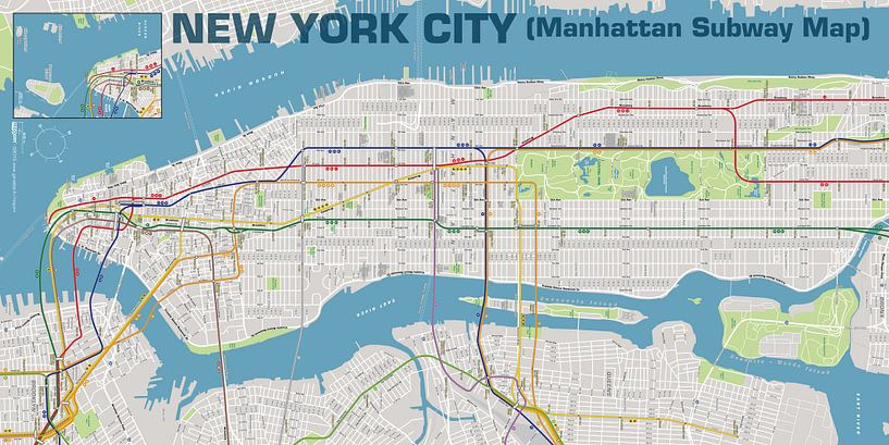 New York City, Plan métro Manhattan  sur MAPOM Geoatlas