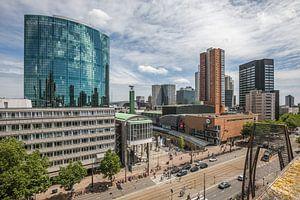 Het uitzicht op WTC Rotterdam, Koopgoot en Coolsingel in Rotterdam