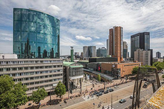 Het uitzicht op WTC Rotterdam, Koopgoot en Coolsingel in Rotterdam van MS Fotografie