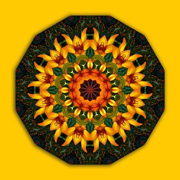 Geel-oranje iris, bloemenmandala, natuur, bloemenmandala-stijl van RaSch_Design