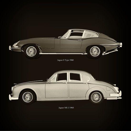 Jaguar E Type 1960 en Jaguar MK-2 1963