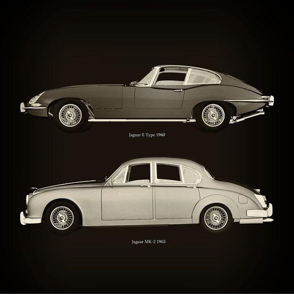 Jaguar E Type 1960 en Jaguar MK-2 1963 van Jan Keteleer