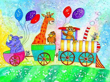 Lustiger Zug Aquarell Kinderzimmerbild von Siegfried Dahlhaus