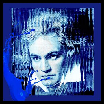 Motief Ludwig van Beethoven - Splash - Blauw - Frame Zwart 01 van Felix von Altersheim