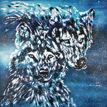 Winterwölfe von Kathleen Artist Fine Art