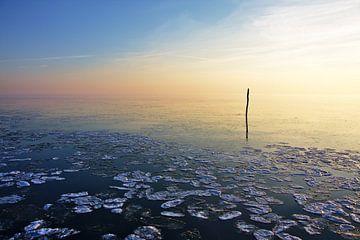 Visserij stok van een net kalm bevroren water van Jan Brons