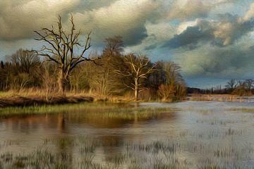 Bäume auf der Drentsche Aa (Ölfarbe) von Karla Leeftink