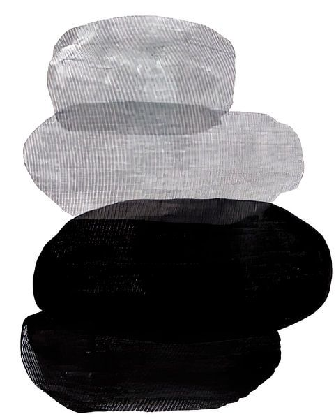 Abstract Black and White Pebbles van David Potter