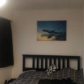 Klantfoto: Een KLM Boeing 737-800, registratie PH-BCE, genoemd Blauwborst. van Gert Hilbink, op canvas