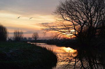Zonsopkomst in polderlandschap von Jacco de Stigter