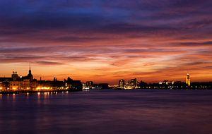 Zonsondergang boven Dordrecht en Zwijndrecht van