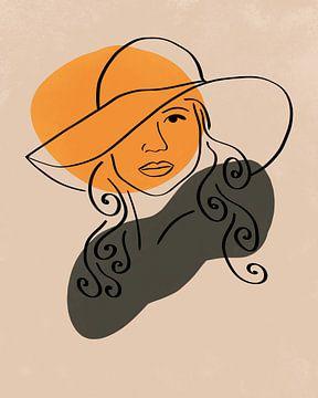 Vrouw met hoed lijn tekening met twee organische vormen in een minimalistische stijl van Tanja Udelhofen