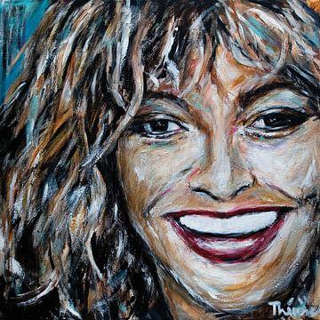 Porträtgemälde von Tina Turner, Königin des Rock 'n Roll. von Therese Brals