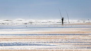 Hengelaar op het strand van videomundum