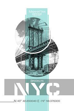Poster Art NYC Manhattan Bridge van Melanie Viola