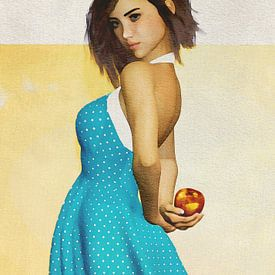 Frau der Welt - französisches Mädchen mit einem Apfel von Jan Keteleer