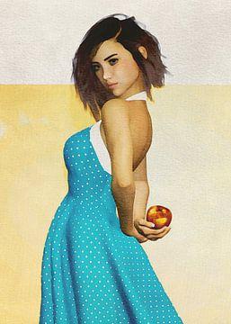 Vrouw van de wereld - Frans meisje met een appel