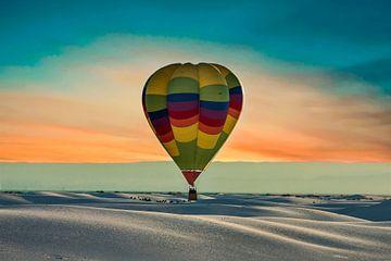 Heteluchtballon boven White Sands, New Mexico USA van