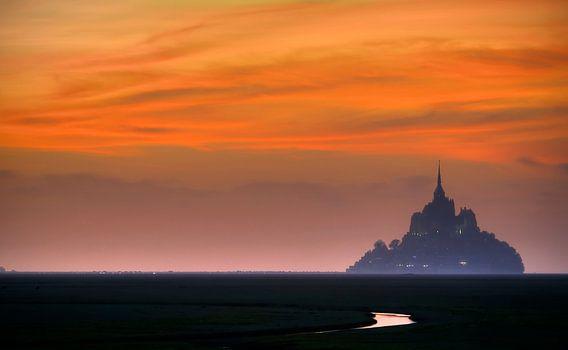 Mont Saint Michel Abbey at sunset