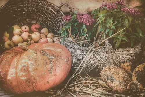 Stilleven met pompoen, appels en zonnebloemen van