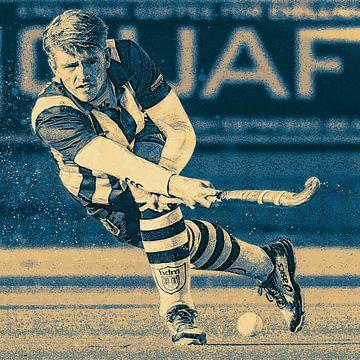 Hockey speler in actie van Frank van der Leer