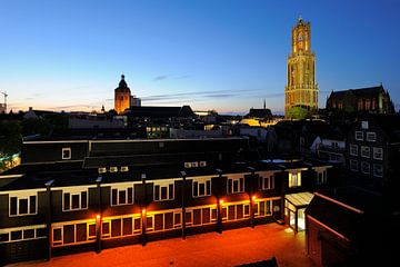De binnenstad van Utrecht met Buurkerk, Domtoren en Domkerk sur Donker Utrecht