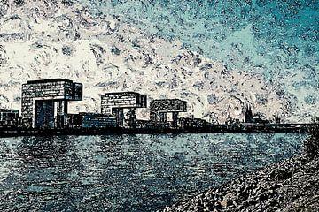 Köln Skyline Panorama Artstyle von Michael Bartsch