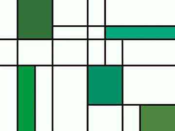 Abstract in groen tinten zwart en wit van Maurice Dawson