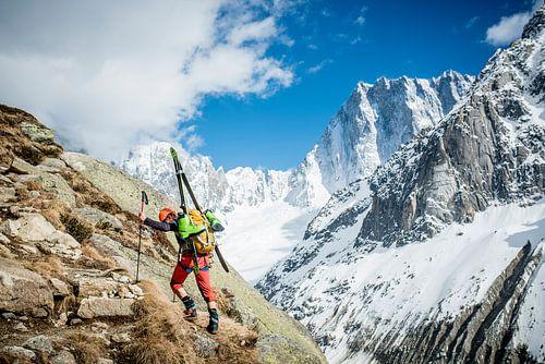 Climber with Ski's Approaching Grand Jorasses   van