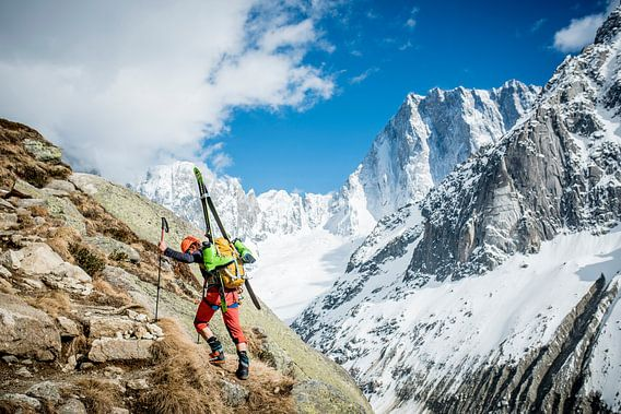Climber with Ski's Approaching Grand Jorasses