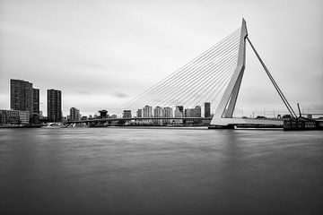 Zwart-wit foto van de Erasmusbrug sur Mark De Rooij