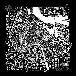 Amsterdam zwart wit in woorden: Plattegrond met A'dam toren van Muurbabbels Typographic Design
