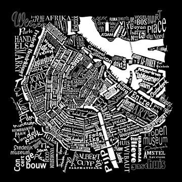 Amsterdam Stadtplan schwarz-weiß in Worten mit A'dam Turm von Muurbabbels Typographic Design