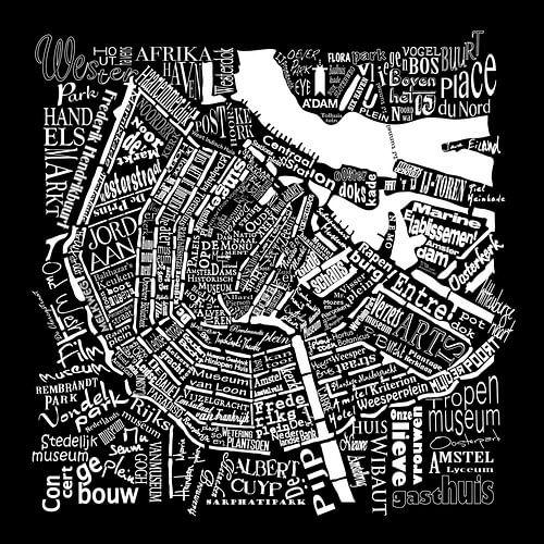 Amsterdam zwart wit in woorden: Plattegrond met A'dam toren