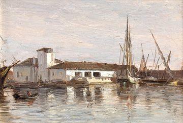 Carlos de Haes Landschaft am Fluss, Antike Landschaft